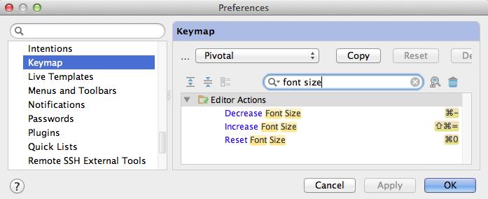 RubyMine Font Size Keyboard Shortcuts